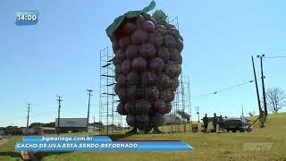 Monumento de cacho de uva está sendo reformado em Marialva