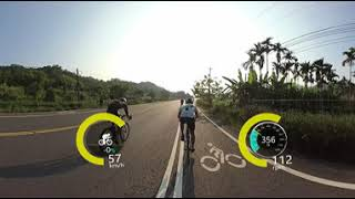 Weekend group ride FPV 360 VR with power meter overlay OSD