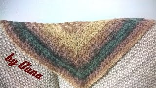 Crochet Triangular Broomstick Lace Shawl