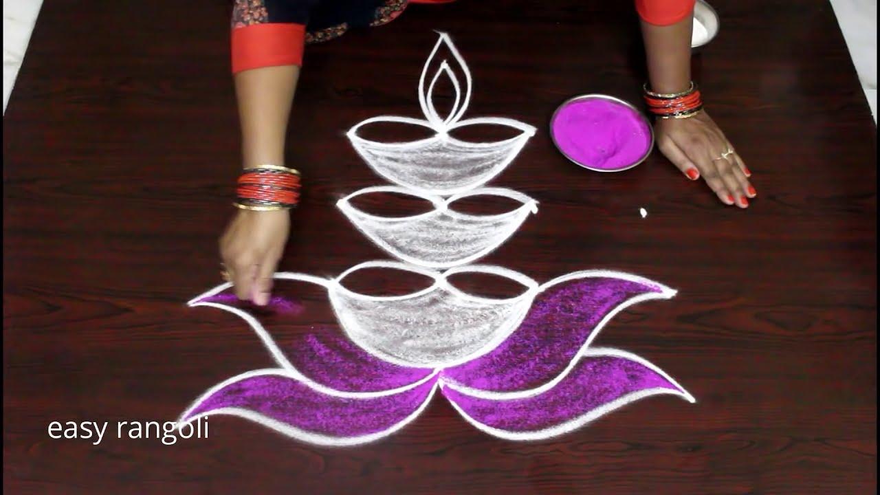 deepavali muggulu rangoli design diyas by easy rangoli