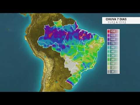 Como fica a chuva no Brasil entre os dias 11 e 17/12/18