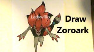 Draw ZOROARK (Zorua on Steroids!?) Pokemon #571 Tutorial