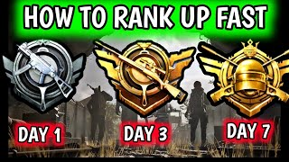 HOW TO RANK PUSH FAST IN PUBG MOBILE 🔥 GET ACE IN 3 DAYS 🔥 EASY WAY TO REACH CONQUEROR IN 7 DAYS