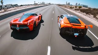 COCKY TURBO LAMBORGHINI OWNER GETS DESTROYED BY LAFERRARI!