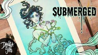 Submerged ♦ Original Watercolor Speedpaint ♦ Micron Pen Lineart
