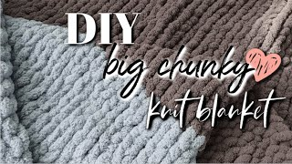 DIY Chunky Knit BLANKET! || How To Hand Knit A BIG Blanket by Hand!