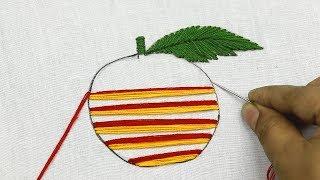 Hand Embroidery Pattern Of An Apple With Checkered Stitch 🍎 Bordado Fantasía : Manzana (fácil)