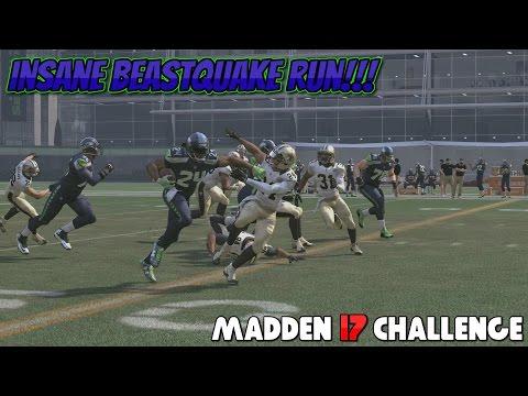 Can I Recreate the MARSHAWN LYNCH BEASTQUAKE RUN vs the Saints?? Amazing Madden 17 Challenge!!