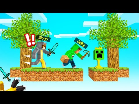 SPEEDRUNNER vs. HUNTERS On A SKYBLOCK! (Minecraft)
