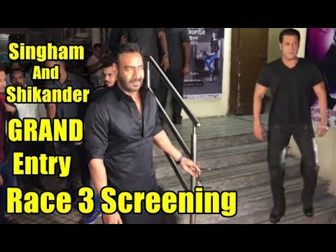 Salman Khan, Ajay Devgn Grand Entry At Special Screening of film Race 3