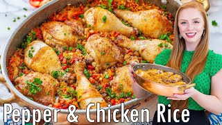 EASY One-Pot Pepper & Chicken Rice Recipe | with Smoked Paprika & Roasted Peppers by Tatyana's Everyday Food