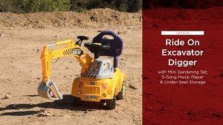Kids Excavator Construction Ride-On Truck w/ Gardening Set