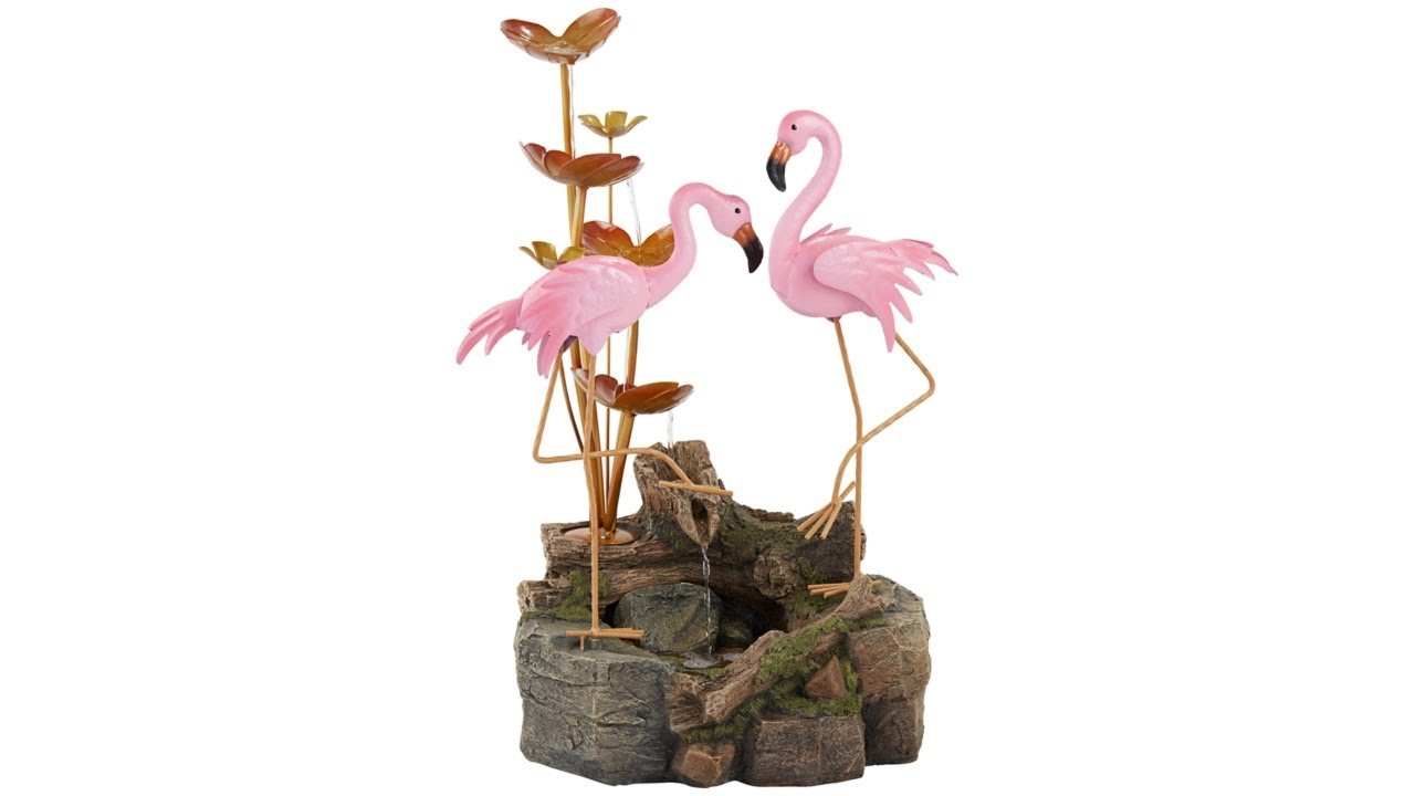 "Oceanside 28 1/4"" High Flamingos on Rock Outdoor Fountain"