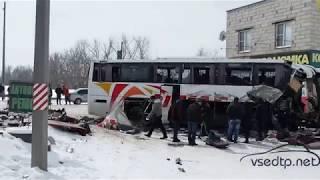Видео с места смертельной аварии с автобусом из Армении в Воронежской области