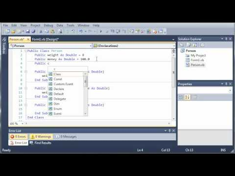Visual Basic Tutorial - 91 - Introduction To Classes - YouTube