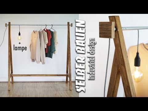 KLEIDERSTANGE SELBER BAUEN aus Rohren - DIY Garderobe mit industrial Lampe | EASY ALEX