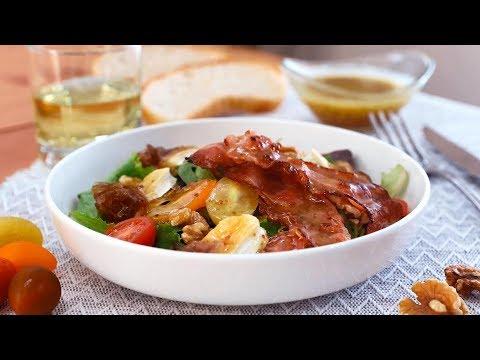 Ensalada templada de queso de cabra, cebolla caramelizada y nueces - Cocinatis