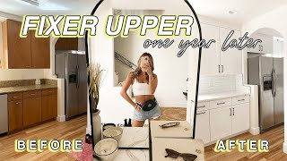 MY FIXER UPPER HOUSE TOUR: 1 Year Of Renovations! Before & After!