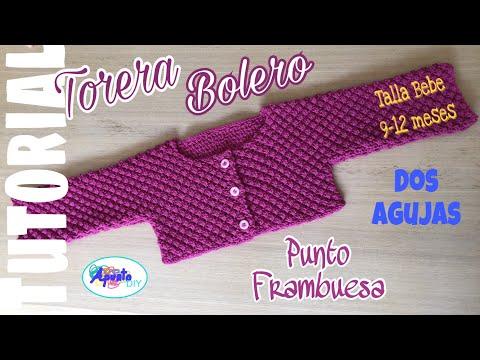 TORERA / BOLERO Bebe Talla 9-12 meses Punto FRAMBUESA
