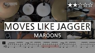 029 | Moves Like Jagger - Maroon 5 (★★☆☆☆) Pop Drum Cover Score book Sheet Lessons Tutorial