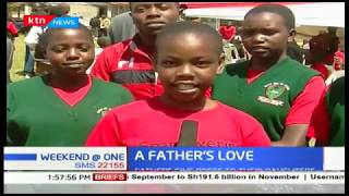Fathers give roses to their daughters in a school in Elgeyo Marakwet during Valentines