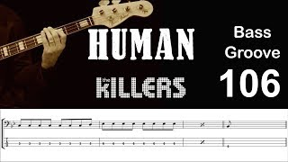 HUMAN (The Killers) How to Play Bass Groove Cover with Score & Tab Lesson