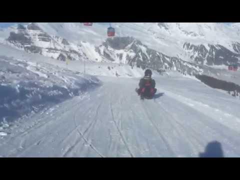 Descenso de trineo en los Alpes / Snow sledding in The Alps / Schnee Schlitten Grindelwald Alpen