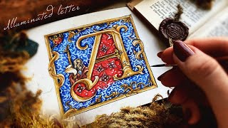How To Draw Illuminated Letter A | Medieval Illuminated Manuscript Tutorial With Watercolor Pencils