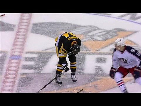 Gotta See It: Calvert breaks his stick across the back of Kuhnhackl
