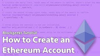 How To Create An Ethereum Account