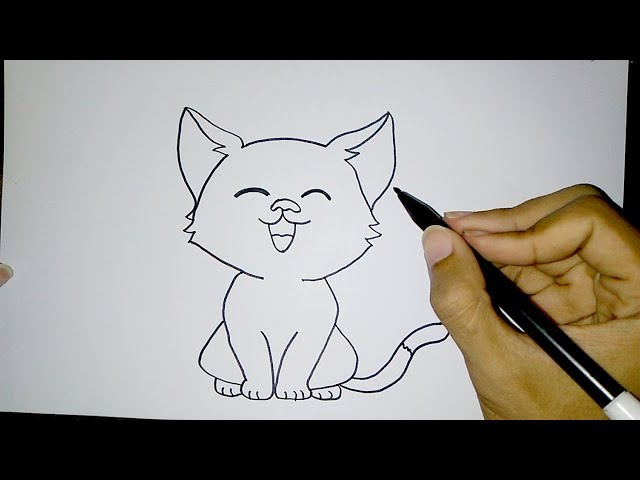 Cara Menggambar Kucing Lucu Sederhana How To Draw A Cat Easy
