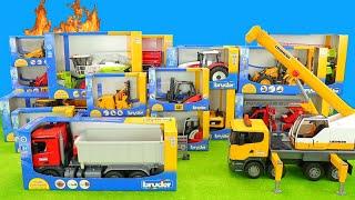 Gefahr beim Container des Bruder Lastwagens,Bagger,Lkw,Feuerwehrauto,Abrollcontainer, Kran Spielzeug