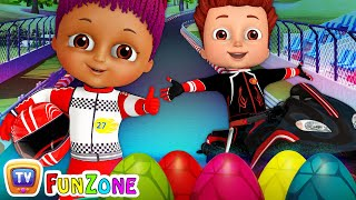 Learn Colors and Shapes with Race Bikes and Surprise Eggs Bike Toys (SINGLE) - ChuChu TV Funzone