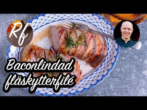 Baconlindad fläskytterfilé som blir extrasaftig av bacon och får god smak från timjan och svartpeppar. Här med förslag på tillbehör som potatisgratäng, grönsallad med mera.>