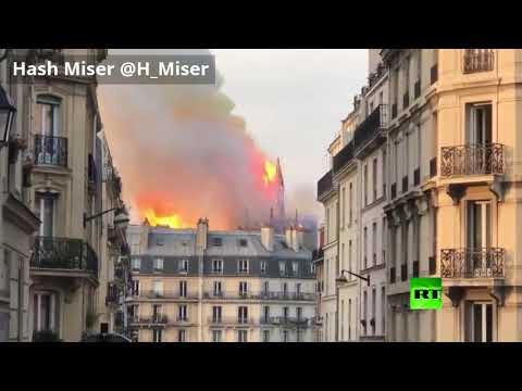 العرب اليوم - شاهد : لحظة انهيار برج كاتدرائية نوتردام في باريس