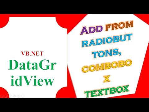 VB NET DataGridView - Add Items From TextBox ComboBox RadioButton  Dynamically - ProgrammingWizards TV