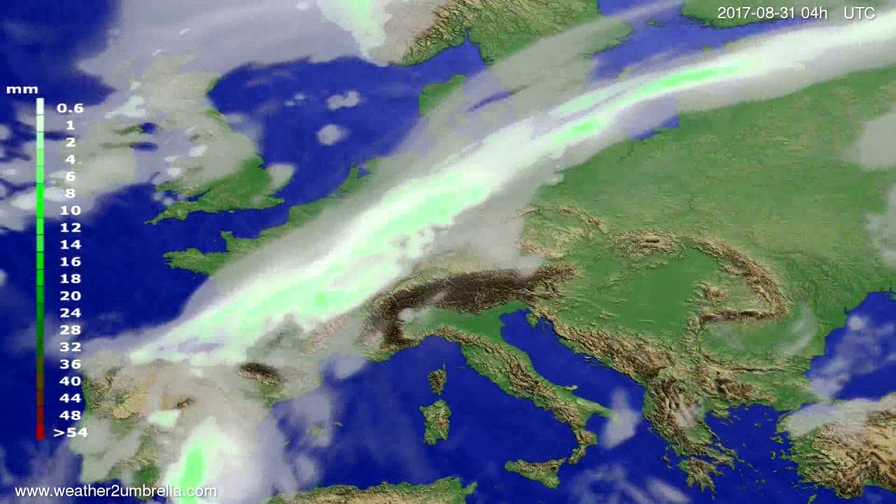 Precipitation forecast Europe 2017-08-27