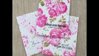 Watercolored Rose Card Set