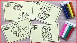 ĐỒ CHƠI TÔ MÀU TRANH CÁT ĐỘNG VẬT HOANG DÃ, 10 HŨ CÁT & 4 BỨC TRANH - Sand painting toys (Chim Xinh)