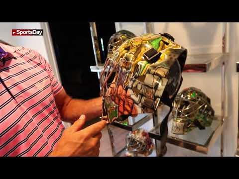 Former Dallas Stars Marty Turco's goalie mask collection