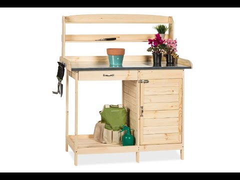 Best Choice Products Outdoor Garden Wooden Potting Bench Work Station w/Metal Tabletop - Overview