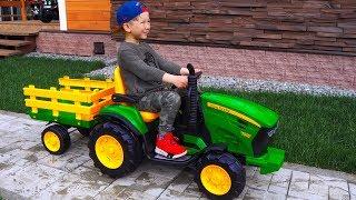 Unboxing mini TRAKTORS - Excavators! Senya Ride on Power Wheel Tractors / Tractors Broken DOWN
