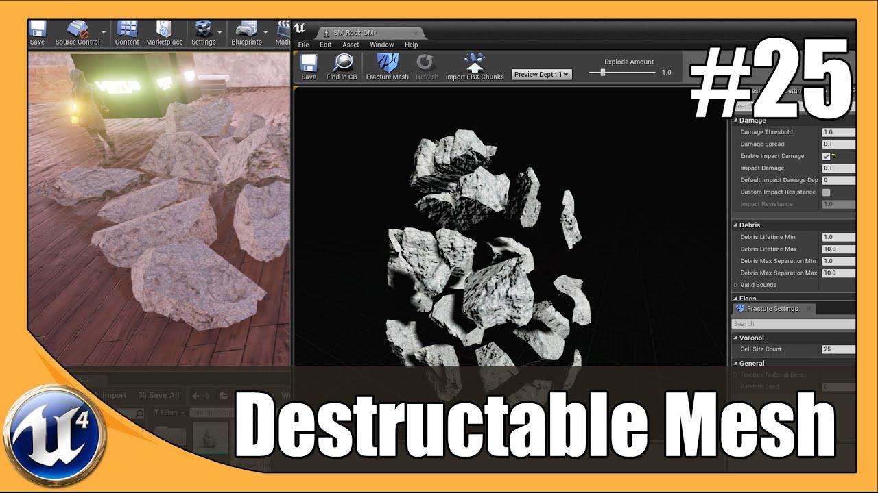 Unreal Engine 4 Beginner Tutorial Series - #25 Destruction Meshes