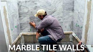 Tiling Bathroom Walls And Floor For Bathtub With Italian Carrara Marble Tile