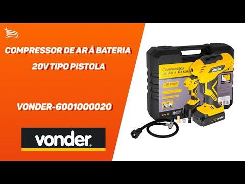 Compressor de Ar à Bateria 20V Tipo Pistola com Carregador Bivolt e Acessórios - Video