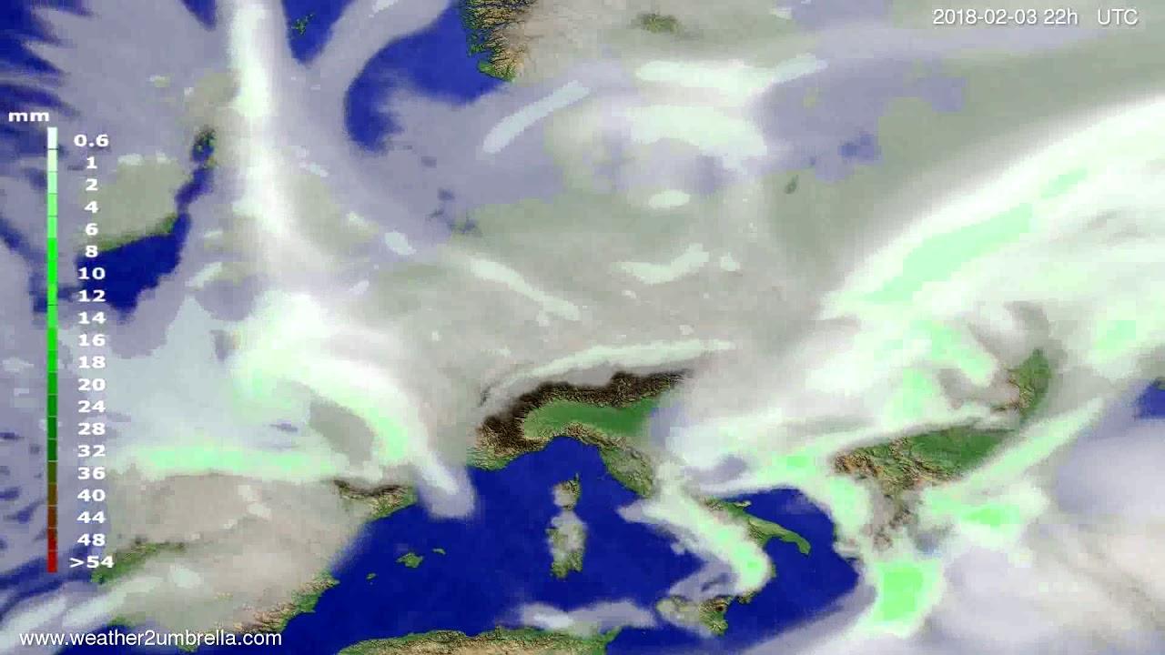 Precipitation forecast Europe 2018-02-01