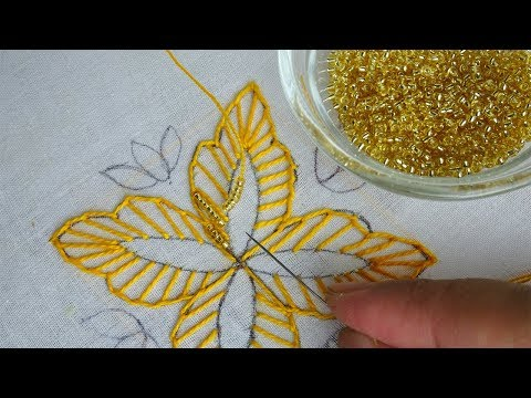 fantasy flower with beads hand embroidery  beaded embroidery design for dress