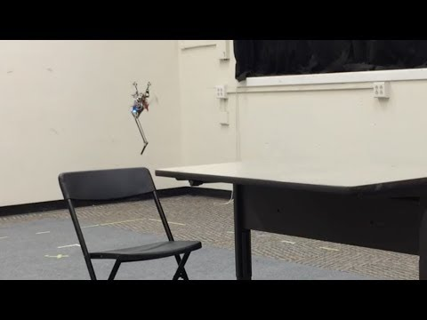 Robot with just one leg jumping and climbing furniture