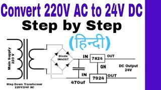 Convert 220V AC To 24V DC Power Supply In Hindi. Step By Step