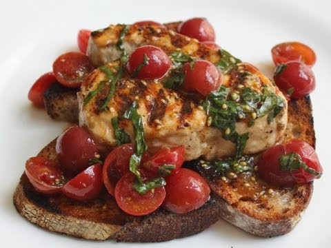 Grilled Swordfish Bruschetta Recipe – Grilled Swordfish with Cherry Tomato Salad on Grilled Bread